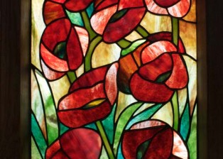 Poppies Framed Stained Glass Panel © David Kennedy 2011